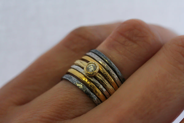 Hammered Ring Stack
