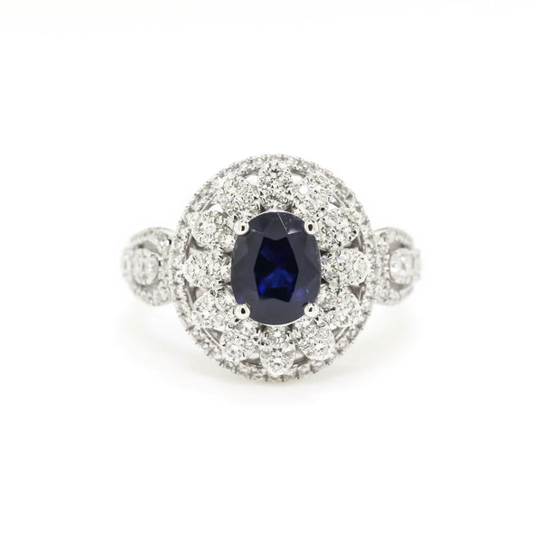 Blue Oval Sapphire and Diamond Ring by Harold Stevens