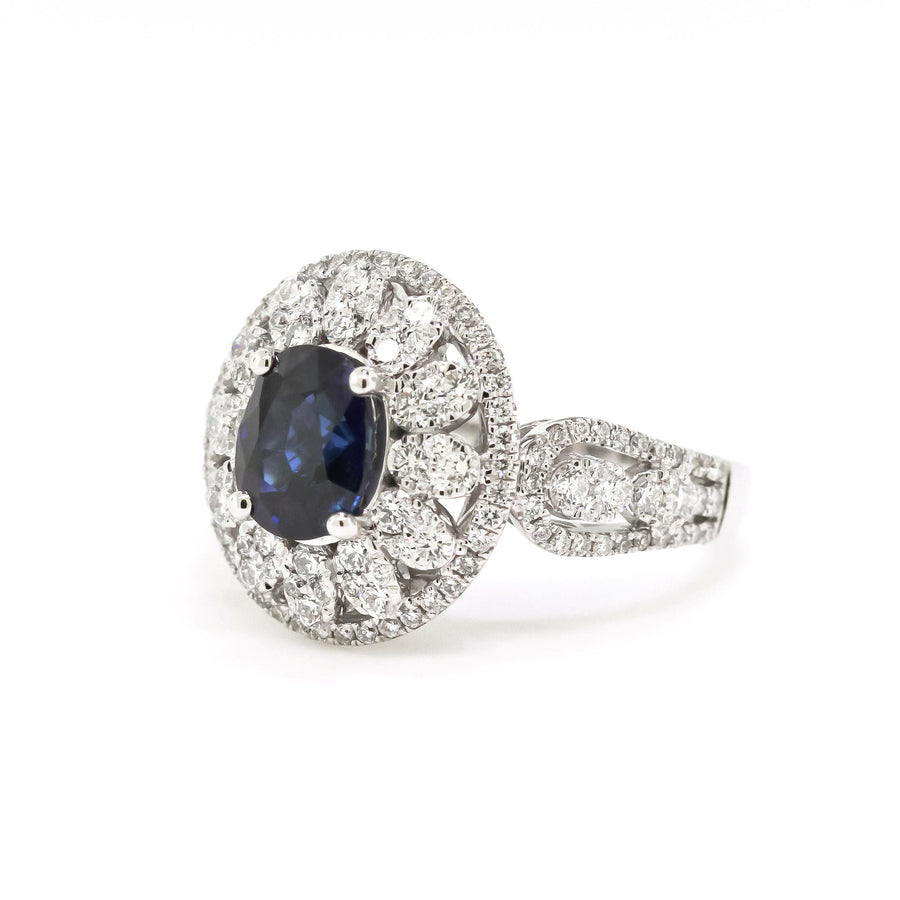 Blue Oval Sapphire and Diamond Ring