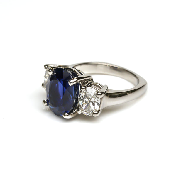 Oval Sapphire and Diamond Engagement Ring