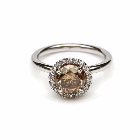 18K White Gold Cognac Diamond Engagement Ring