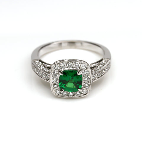 Green Tsavorite Garnet and Diamond Ring