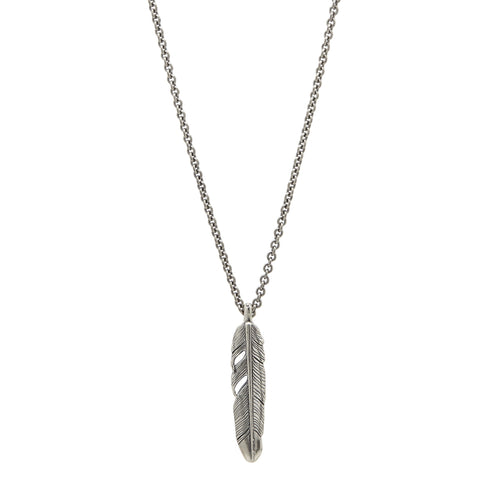 John Varvatos - Silver Feather Necklace