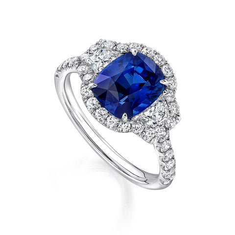 2.77ct Sapphire Cushion Ring with Trapezoid Sides