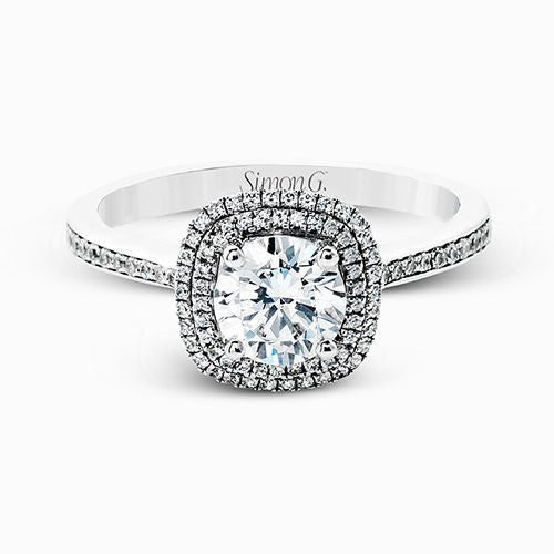 Simon G Double Halo Engagement Ring