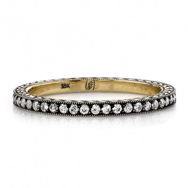 Oxidized Gold Diamond Band by Single Stone - named Molly