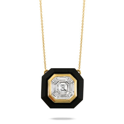Black Onyx and Gold Diamond Necklace
