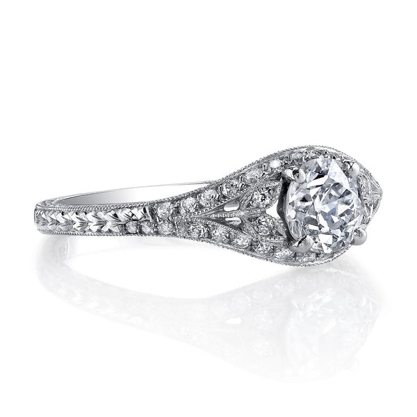 Single Stone Vintage Engagement Ring with Floral Accents
