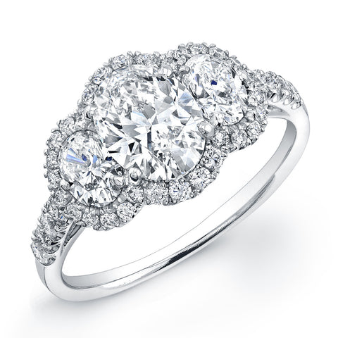 Platinum Three-Stone Oval Diamond Engagement Ring