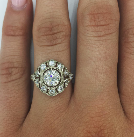 Single Stone Vintage Inspried Diamond Engagement Ring