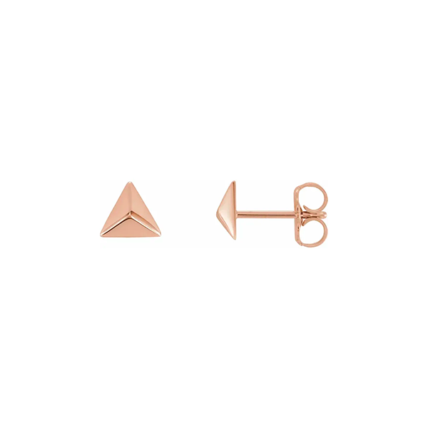 14K Rose Gold Pyramid Earrings