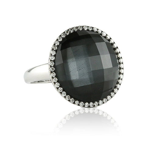 Hematite Cocktail Ring with Diamonds