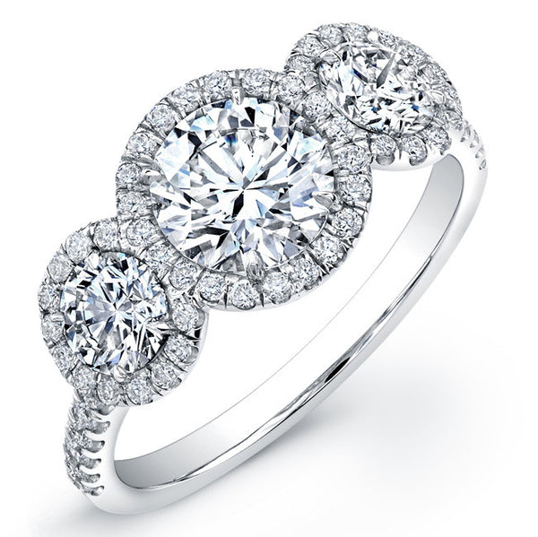 1.18 CTTW. Three-Stone Halo Engagement Ring
