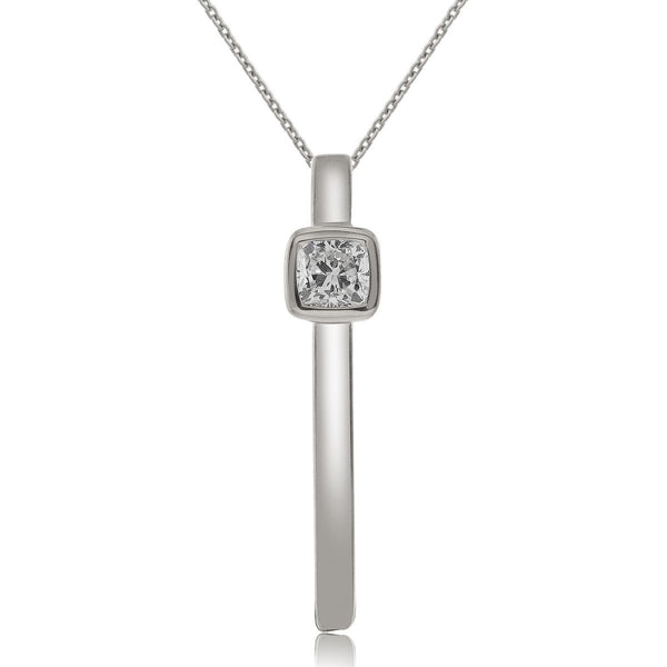 0.18 carat cushion cut diamond bar pendant