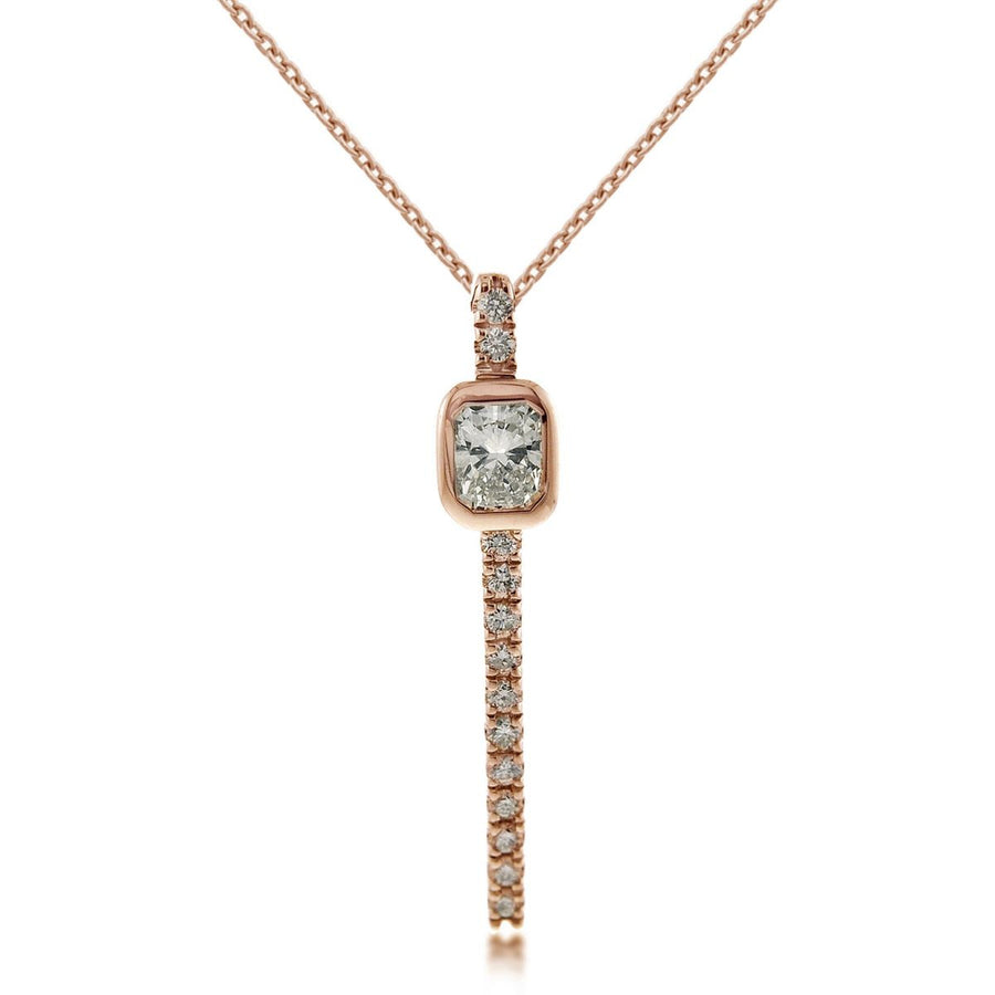 Rose Gold Diamond Curved Bar Pendant