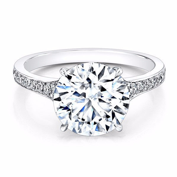 2.00 Carat White Gold Pave Solitaire Diamond Engagement Ring