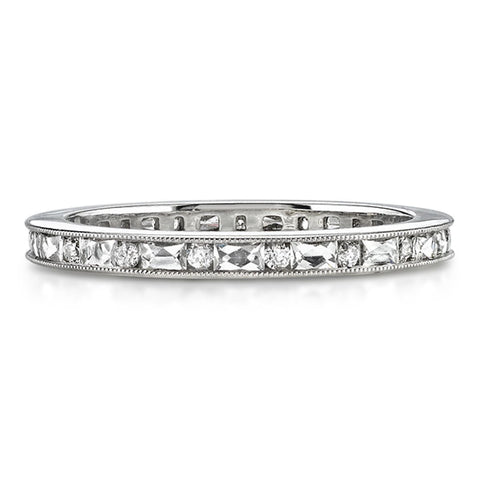 Single Stone Handmade Diamond Wedding Band with French Cuts