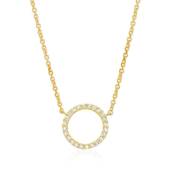 Open Circle Diamond Necklace