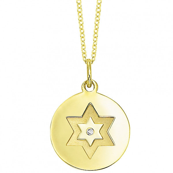 Gold and Diamond Star of David Disc Pendant