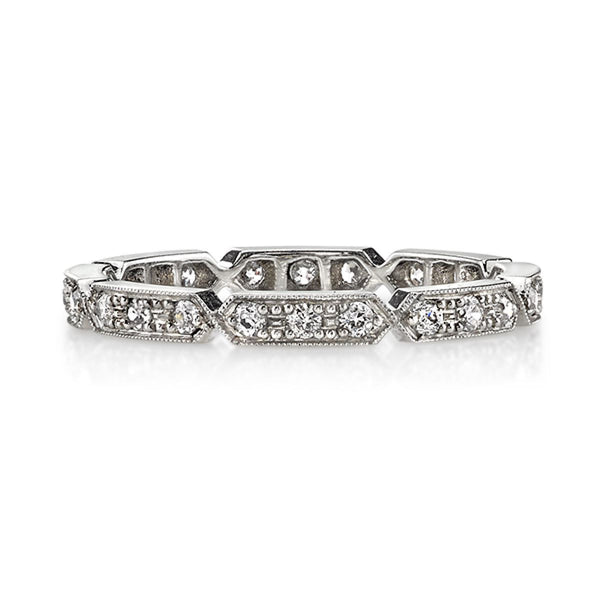 Platinum Vintage Inspired Wedding Band by Single Stone