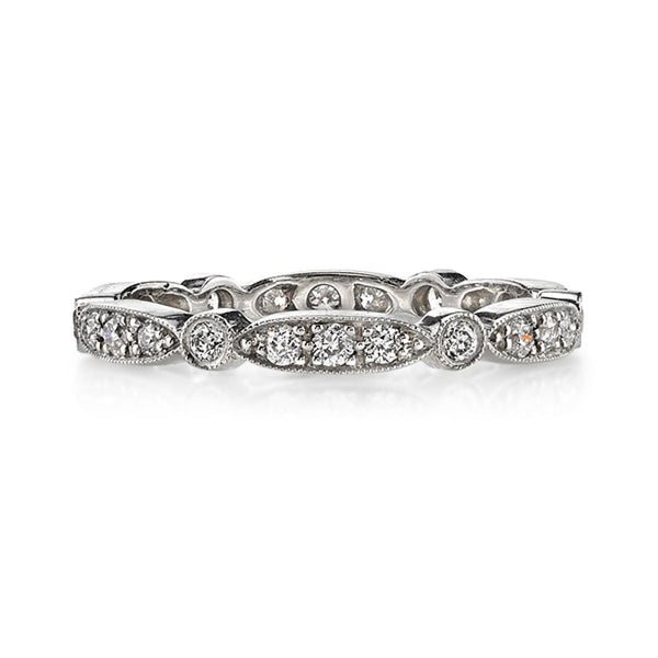 Single Stone Platinum Vintage Inspired Diamond Wedding Band