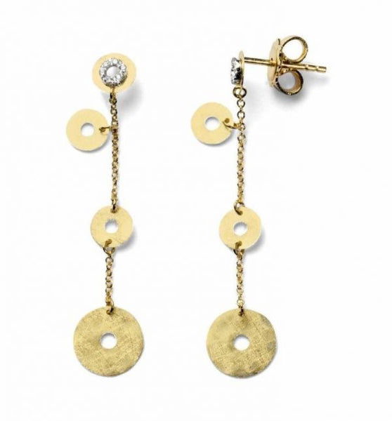 Gold Disc Drop Earrings with Diamond Accents by Nanis