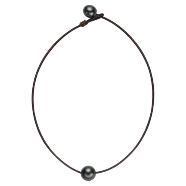 Black Pearl and Leather Necklace by Vincent Peach