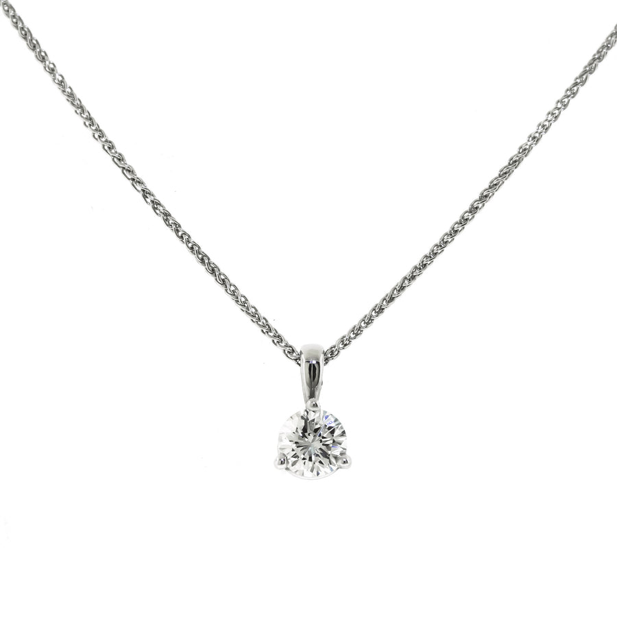 White Gold Diamond Solitaire Necklace