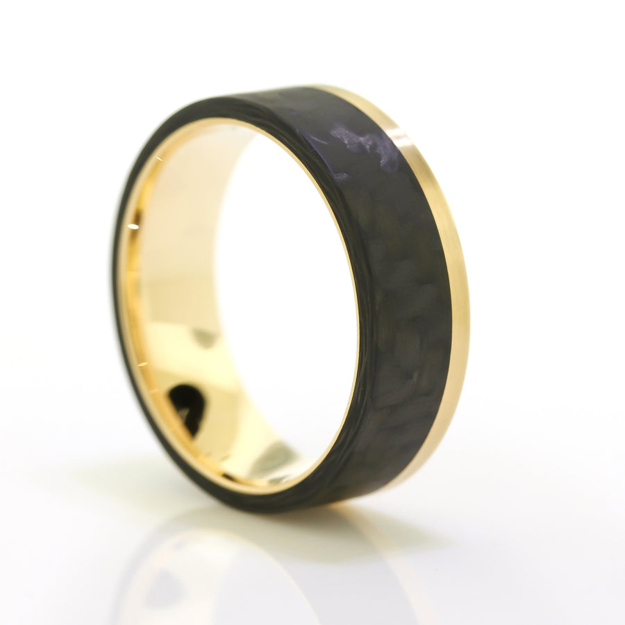 Black Carbon Fiber and Gold Men's Ring