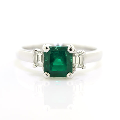 Emerald Three-Stone Ring