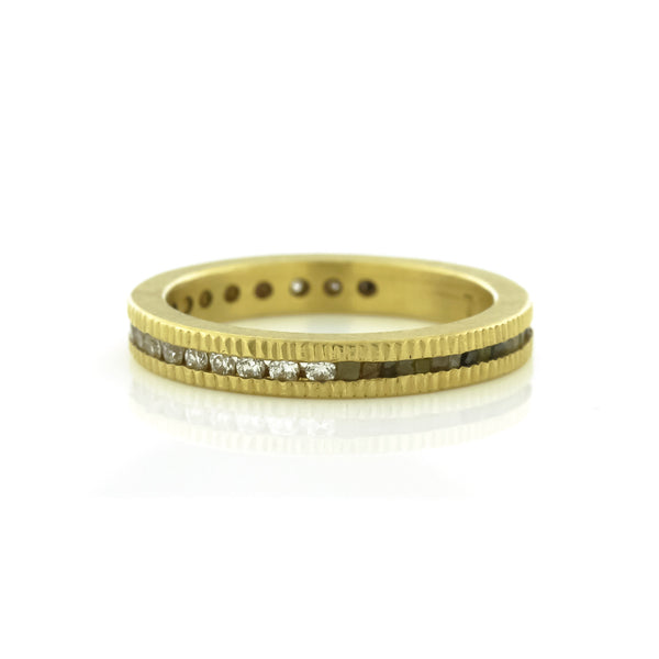 Gold Brilliant Cut & Raw Diamond Cube Wedding Band by Todd Reed