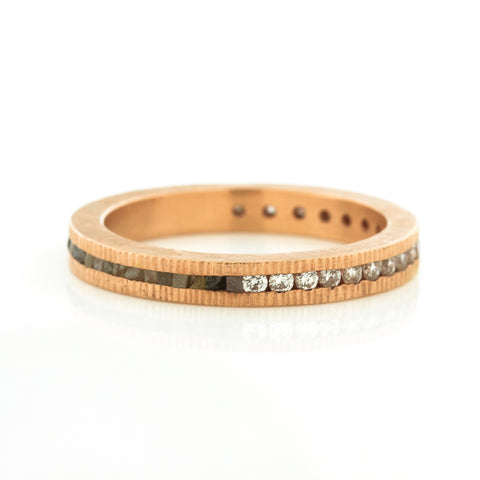 Todd Reed Rose Gold Brilliant Cut & Raw Diamond Cube Wedding Band
