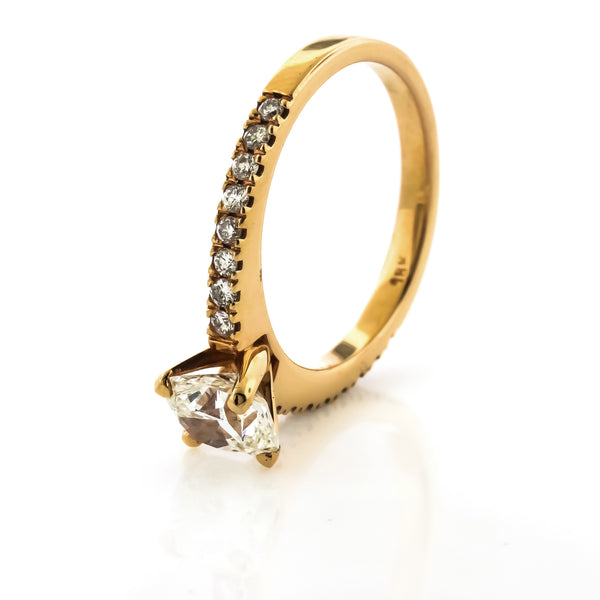 1.30 CTTW. Rose Gold Cushion Cut Engagement Ring