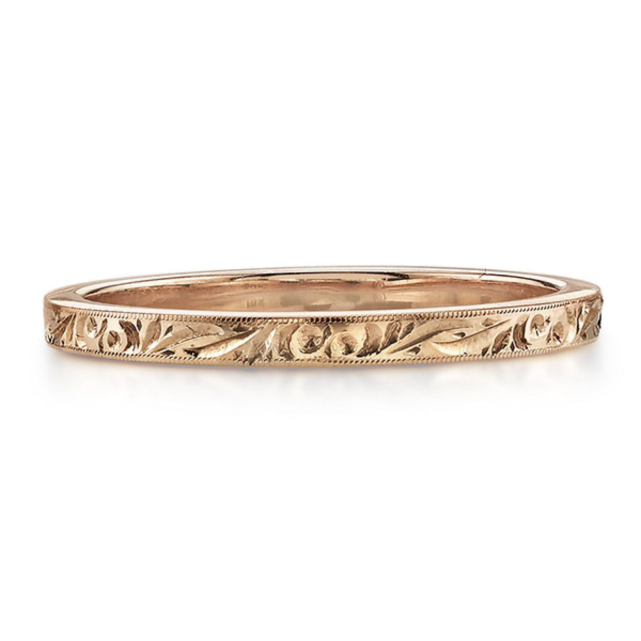Hand-Carved Rose Gold Wedding Band by Single Stone
