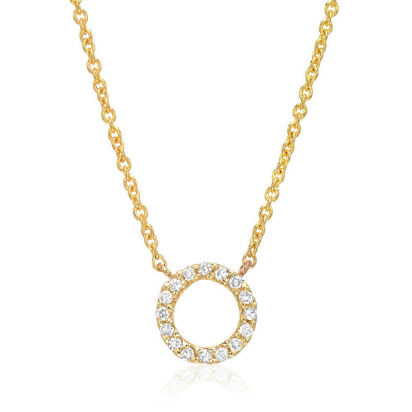 Small Open Circle Diamond Necklace