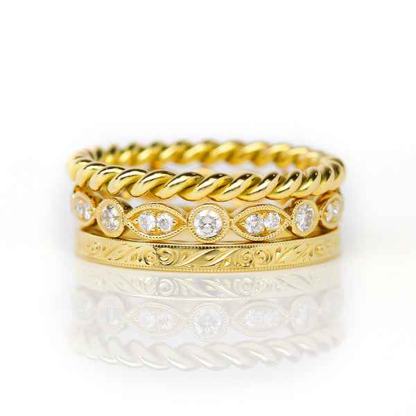 Yellow Gold Ring Stack