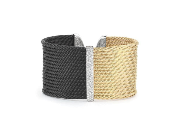 ALOR Diamond Black & Gold Cuff Bracelet