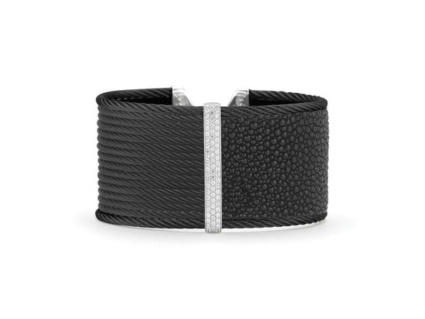 ALOR Diamond Black Cuff Bracelet