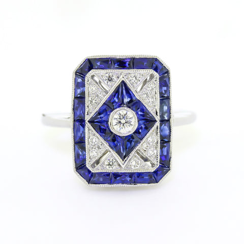 Art Deco Sapphire Diamond Engagement Ring