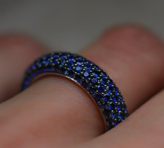 Blue Sapphire Pave Band