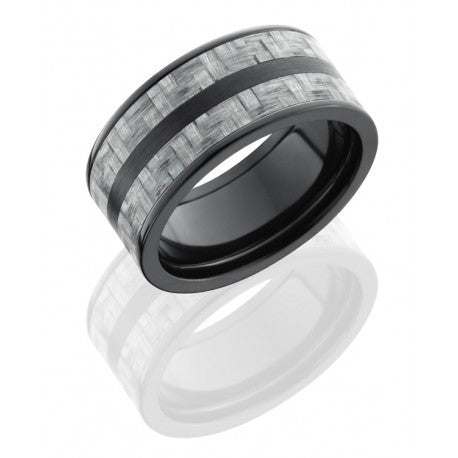 Black Carbon Fiber Mens Ring