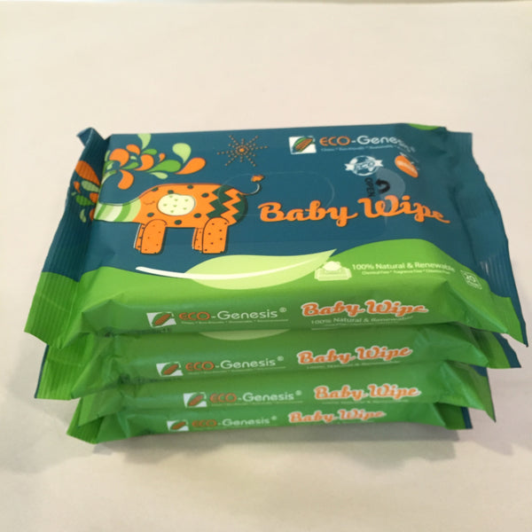 Natural Plant-based and Bioderadable Baby Wipes - 20 count package