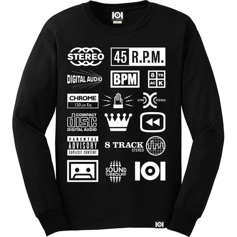 "[""101 Apparel - 'Stereo Icons' [(Black) Long Sleeve Shirt]""]"