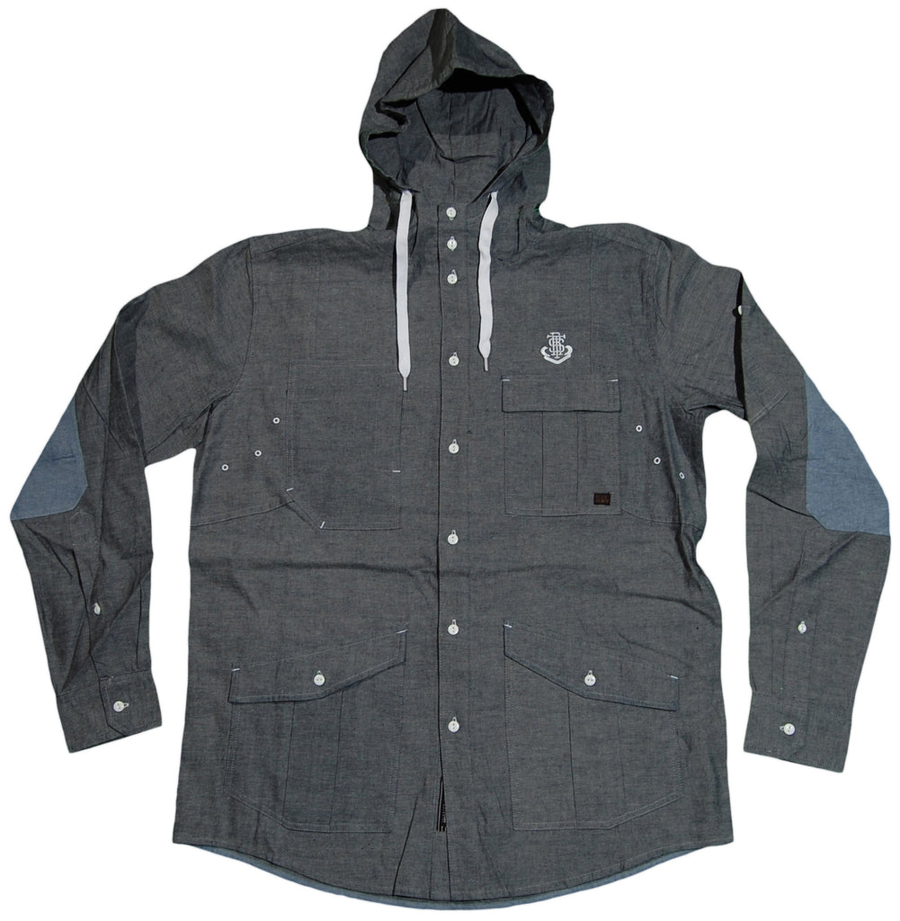 <!--2011083057-->Rocksmith - 'Blue Scholar Hooded' [(Dark Gray) Button Down Shirt]