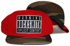 <!--020120626046407-->Rocksmith - 'Explicit - Red/ Camo' [(Red) Snap Back Hat]