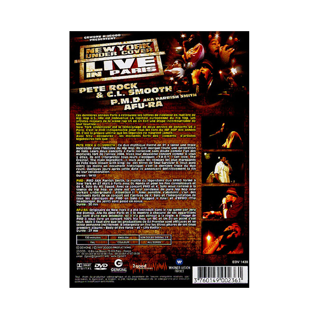 <!--020071113011174-->New York Undercover - 'Live In Paris feat. Pete Rock & C.L. Smooth, PMD, Afu-Ra' [DVD]