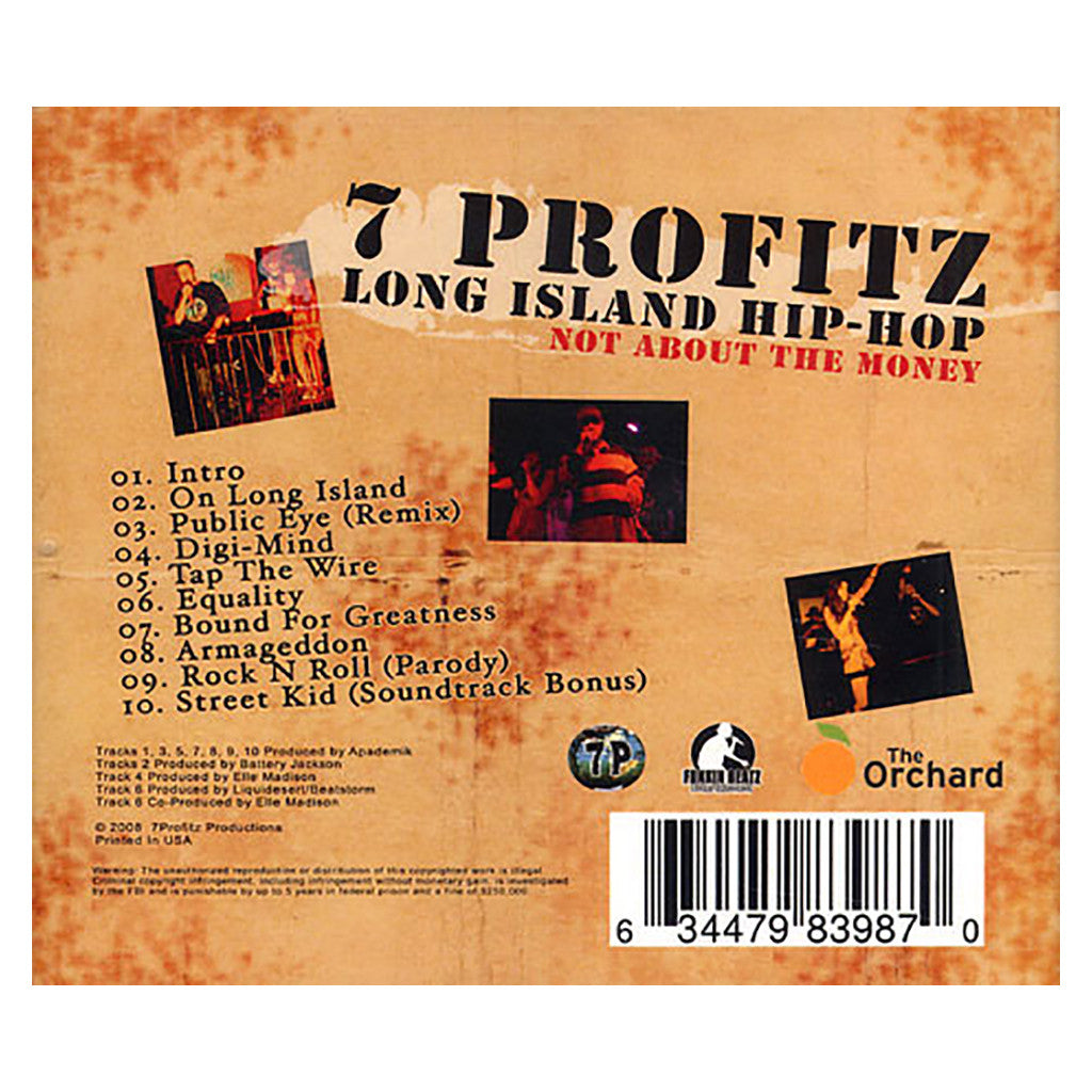 <!--2008081219-->7 Profitz - 'Long Island Hip-Hop: Not About The Money' [CD]