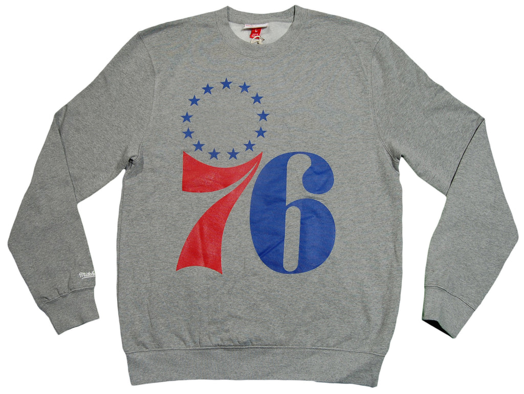 <!--2012112005-->Mitchell & Ness x NBA - 'Philadelphia 76ers - NBA Fleece Crewneck' [(Gray) Crewneck Sweatshirt]