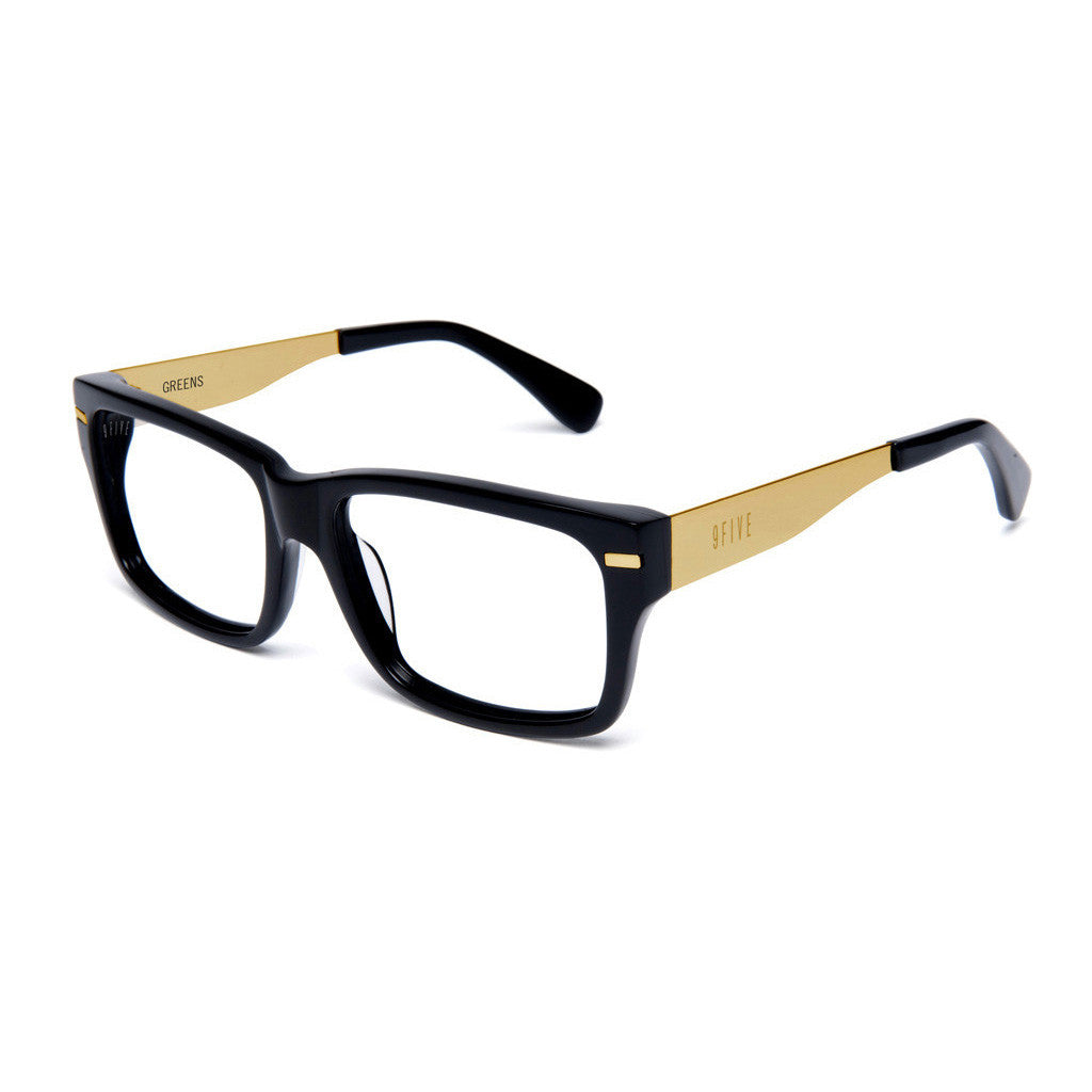 <!--020130917059854-->9five Eyewear - 'Greens: Black/ Gold (CLEAR LENS)' [(Black) Sunglasses & Eyewear]