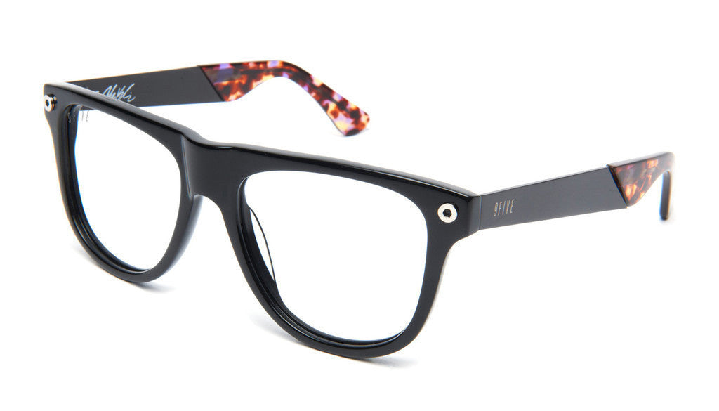 <!--2013041627-->9five Eyewear x Josh Kalis - 'KLS II: Black/ Purple Tortoise Tips (CLEAR LENS)' [(Black) Sunglasses & Eyewear]